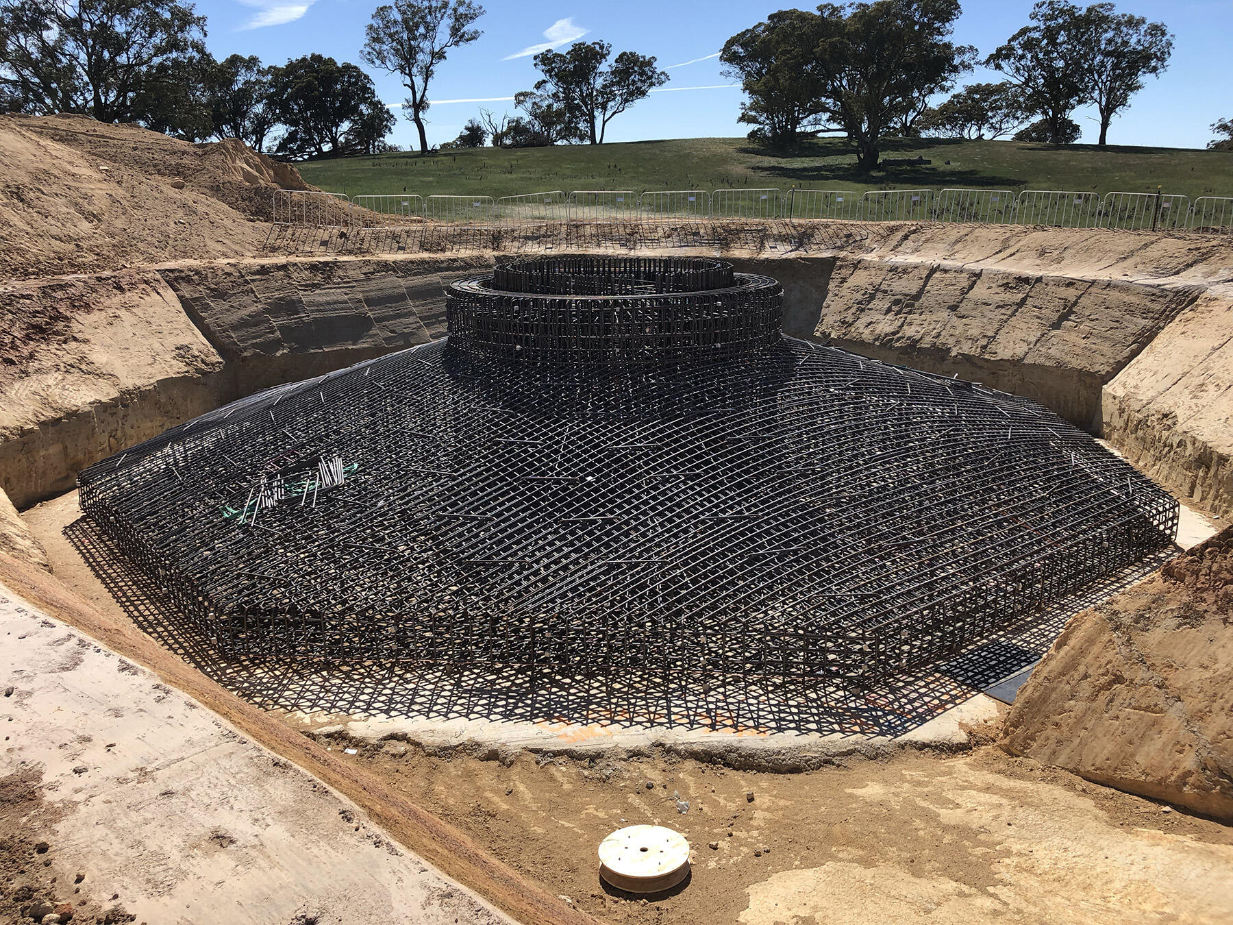 Reinforcement completed; next step is to install formwork.