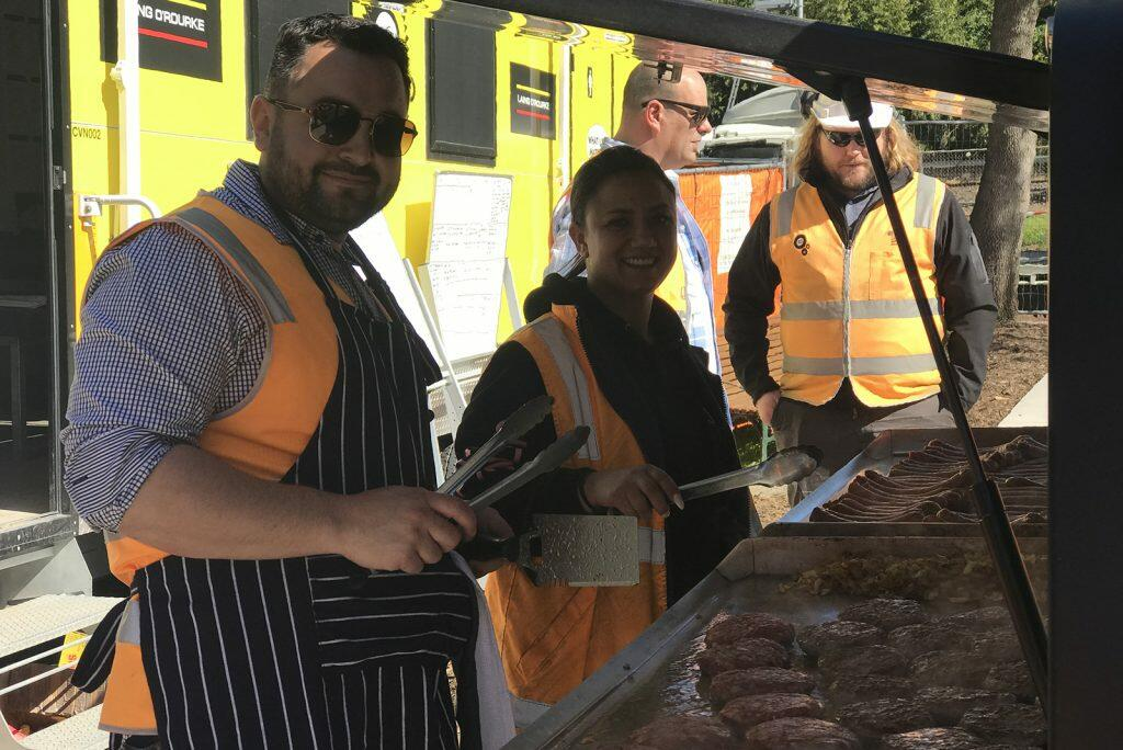 The Civilex chefs – Group Assets and Logistics Manager Kris Bogdanovski and Plant and People Coordinator Gaby De Vincenzo cook up a storm on site.