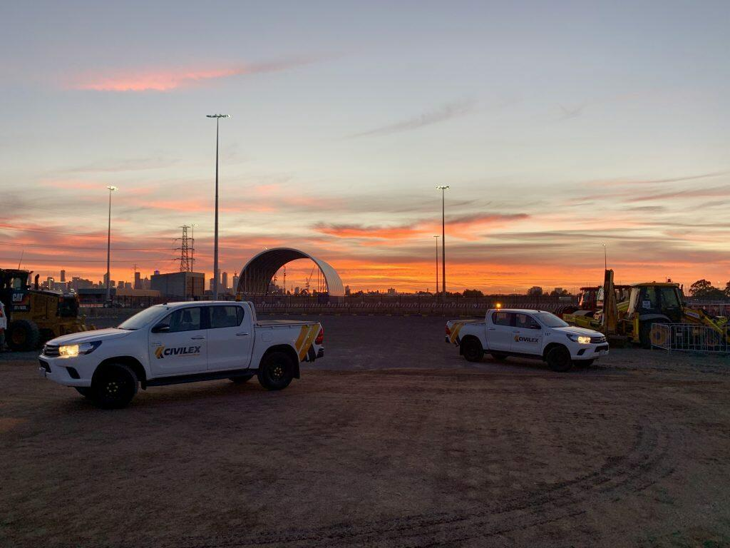 Civilex works commence with a glorious sunrise at Toll's Webb Dock terminal.